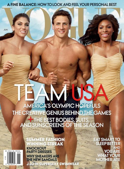 Hope Solo, Ryan Lochte and Serena Williams on the cover of Vogue Magazine