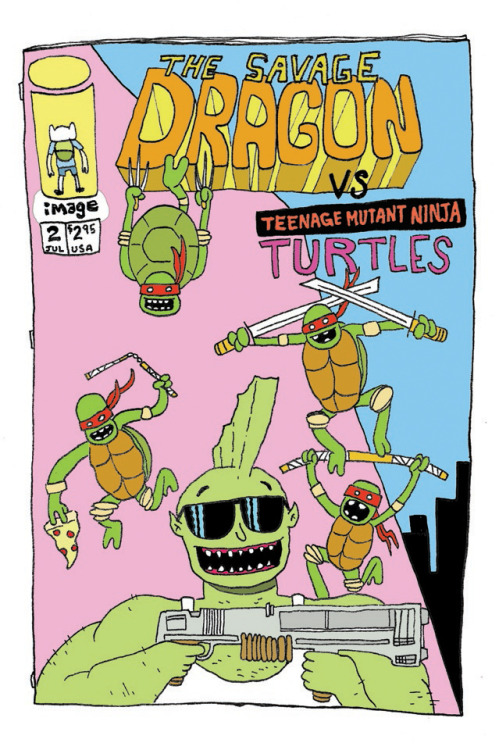 The Savage Dragon Vs. the Teenage Mutant Ninja Turtles by Rickey Purdin http://rowdyschoolyard.blogspot.com/