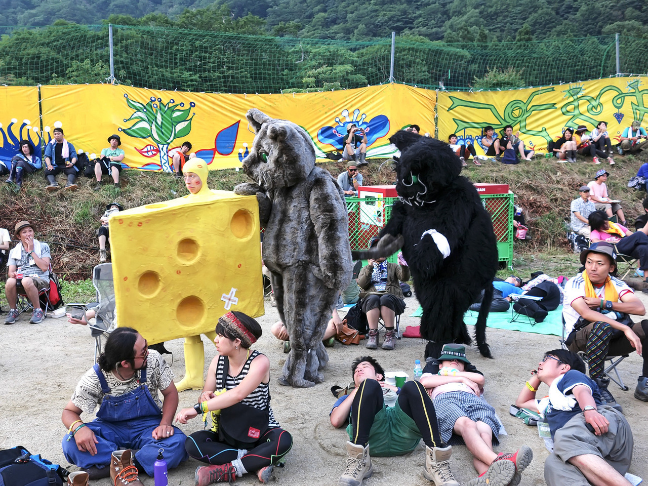 Human cheese & giant mice (or rats?) at FujiRock today.