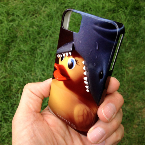 "Just got my new iPhone case in the mail yesterday! I call it ""Shark Hat Rubber Duck"" and I made it on Zazzle.com. I actually took the photo using my old iPhone 3Gs — you can see more photos from the ""shoot"" here."