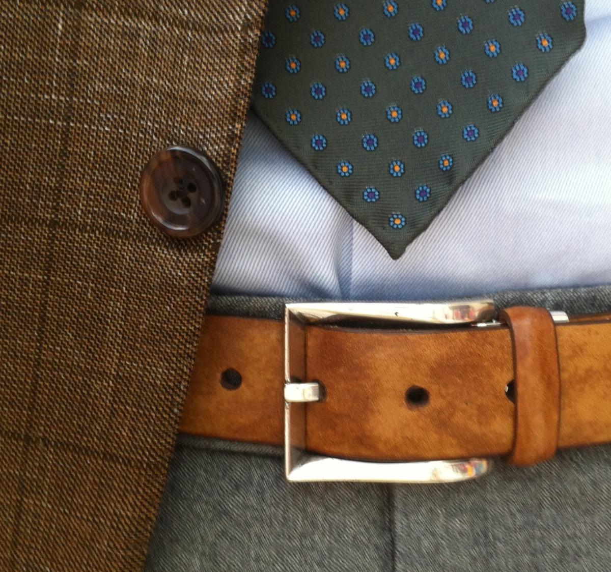 Details, 1.   Museum calf belt and an untipped tie.