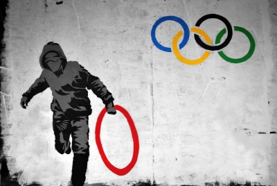 humorbeta:  Banksy - Untitled (Olympic Rings), 2012
