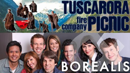 Borealis + Tuscarora Fire Co. Picnic TONIGHT at 8pm! Start your Friday night with two of The PIT's most theatrical house teams! Tuscarora Fire Company Picnic presents a fully improvised, one-act play that takes place in real-time in a single location. Then Borealis spins a spontaneous web of interrelated worlds from a musical playlist they've never heard before.