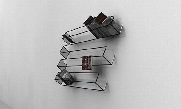 "thebeastfeed:  Optical Illusion Bookshelf Designed by John Leung from ClarkeHopkinsClarke Architects. ""The bookshelf looks cartoony and almost invisible but that's not even the real illusion, the real mind bender is that there are what seems like 4 shelves on the left side but only 3 shelves on the right side."""