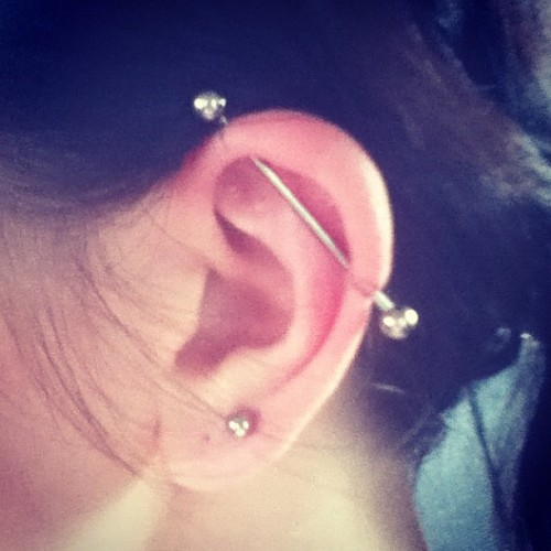 Scaffold piercing finally!! (Taken with Instagram)