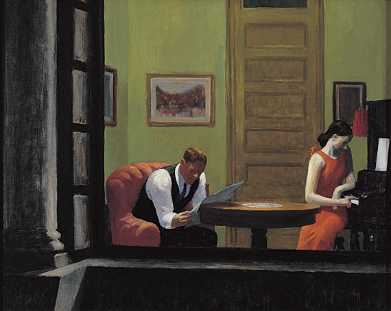 poboh:  Room in New York, 1932, Edward Hopper.