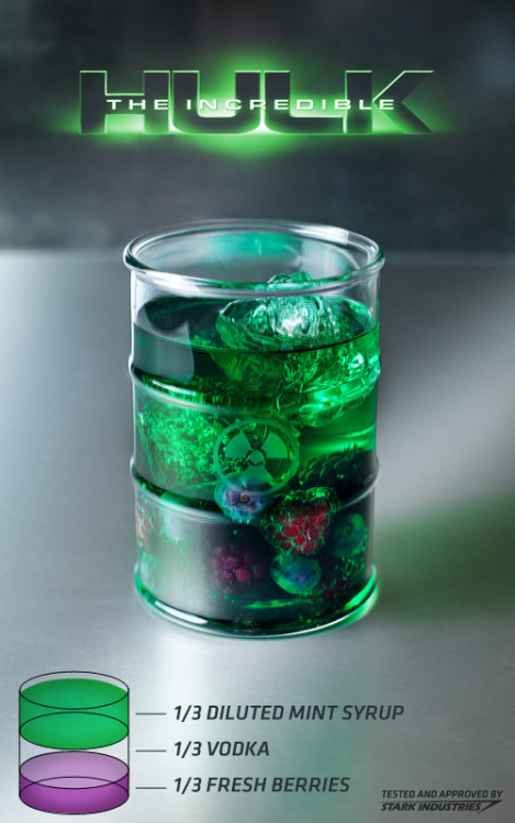 The Incredible Hulk cocktail Ingredients:1/3 measure diluted mint syrup (recipe here)1/3 measure vodka1/3 measure fresh mixed berries Directions: Mix all ingredients in a glass over ice. The mint syrup can be diluted with water to taste.  Loki: I have an army.Tony Stark: We have a Hulk.  Drink created and photographed by Anna Lucylle.