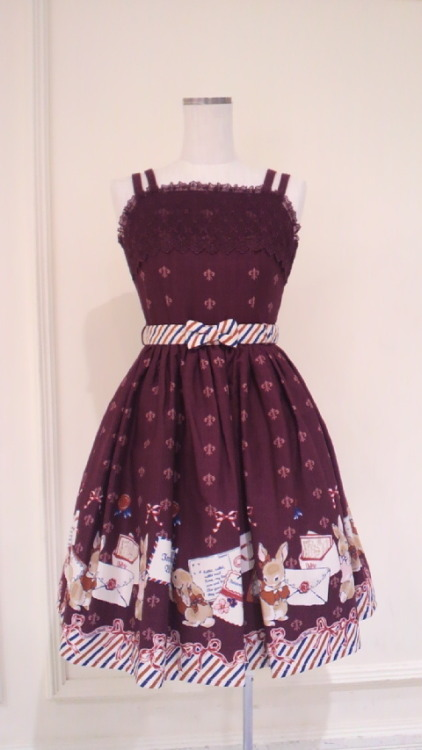 "piffle-princess:  Innocent World's ""Rabbit Letter"" Jumperskirt in wine. Instantly wishlisted <3 <3  omg…."