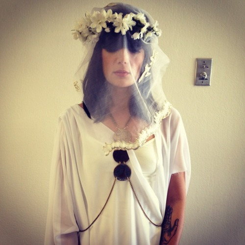 Jules from the Dum Dum Girls wearing a headpiece by me, jewelry by Bare collection. Styling: Megan Mah