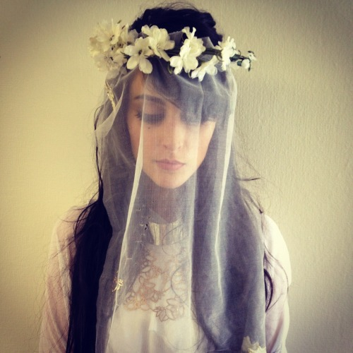 Malia from the Dum Dum Girls wearing headpiece by me, jewelry by Bare Collection, UNEARTHEN and Urban Outfitters. Styling by: Megan Mah
