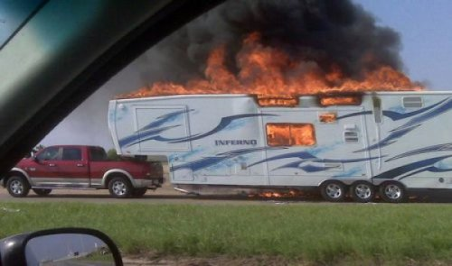 """Inferno"" Trailer on Fire This trailer is perfect for transporting infernos."