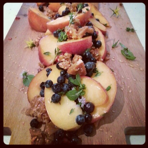 ontario peach, maldon-thyme nut brittle, wildflower honey, wild blueberry, mint flower.  day&night salon party, july 2012.   xo, lw.