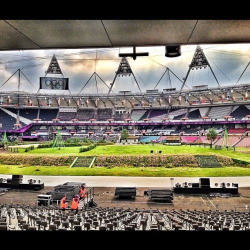 Sneak peak of the Opening Ceremonies #london2012 #olympics  (Taken with Instagram at Olympic Stadium)