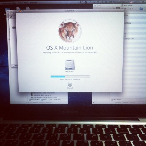 osnard:  Сейчас опробуем) #macbook #mountain #lion #os (Taken with Instagram)  i am still waiting for my got dam redeem code…