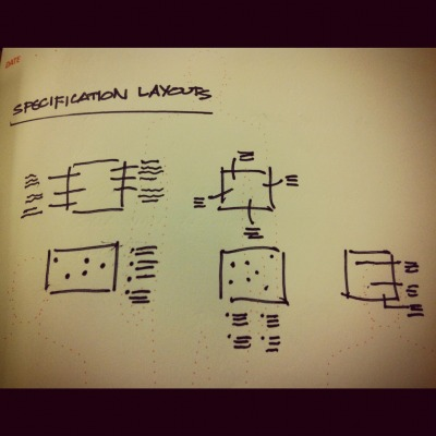 Specification layouts.