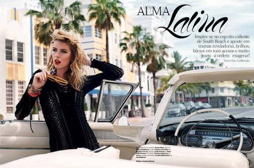 Julia Frauche goes retro for the August Miami special issue of Vogue Brasil, photographed by Eric Guillemain and styled by Yasmine Mc Dougall Sterea. Hair: Leonardo Manetti. Make-up: John McKay.            Original Article
