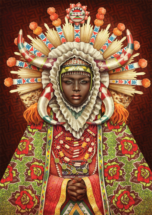 "'African Madonna'  African Madonna is a self-initiated project by illustration studio, Studio Muti. ""Combining elements from South African tribal culture and referencing religious icons, we came up with our version of an ""African Madonna""."""