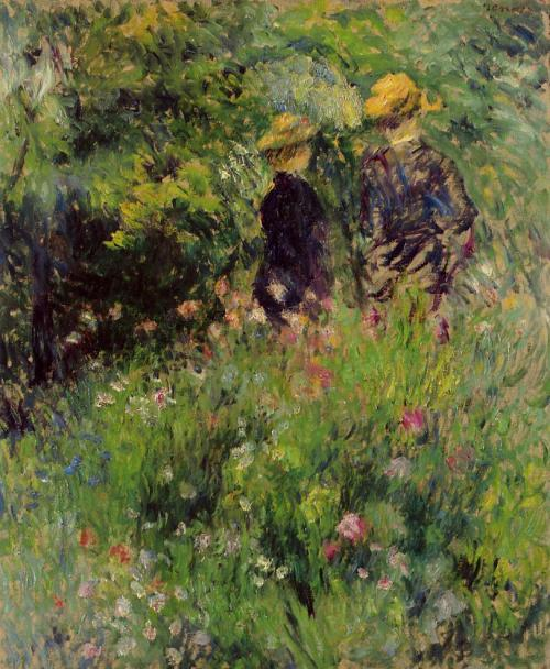 poboh:  Conversation in a Rose Garden, 1876, Pierre-Auguste Renoir. (1841 - 1919)
