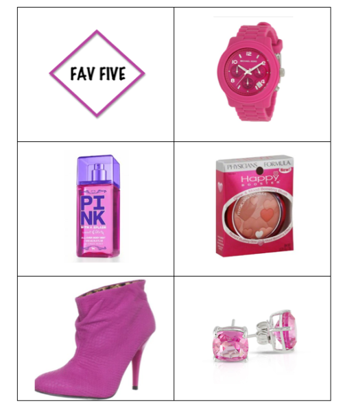 FAV FIVE Michael Kors Pink Dial Watch Victoria's Secret PINK all over body mist Physician's Formula Blush Betsy Johnson Gllaam Ankle Boot Sterling Silver Cushion Gemstone Earrings