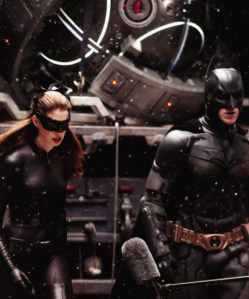 Anne Hathaway and Christian Bale on the set of The Dark Knight Rises