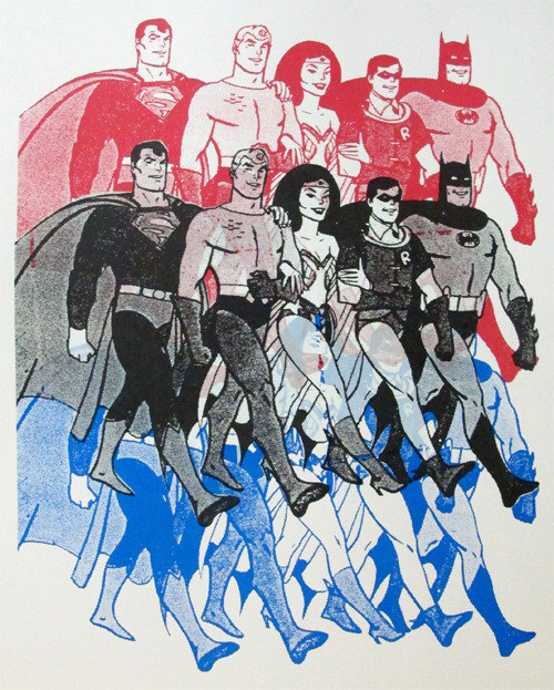 Saturday Morning Superfriends designed by Print Mafia using the original artwork of Alex Toth :: via etsy.com