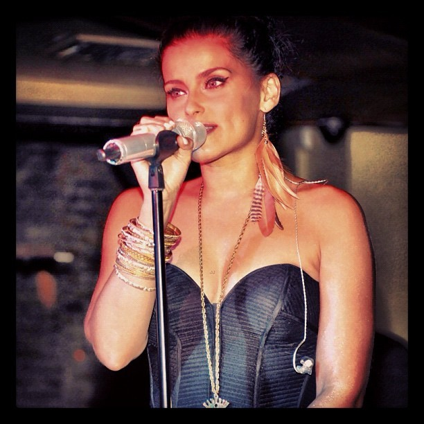 @nellyfurtado looking like summer perfection in our black peplum bustier top,last night at Kiss & Fly in NYC! #summer #bustier #nellyfurtado #party (Taken with Instagram)