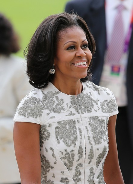 obamafamily:  LONDON, ENGLAND - JULY 27: First Lady Michelle Obama arrives for a reception at Buckingham Palace for Heads of State and Government attending the Olympics Opening Ceremony at Buckingham Palace on July 27, 2012 in London, England. (via Photo from Getty Images)  beautimous!