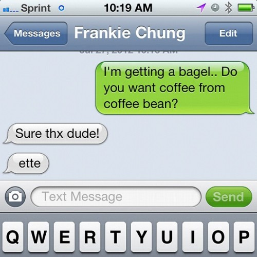 dude. ette. #coffee #bagel #work  (Taken with Instagram)