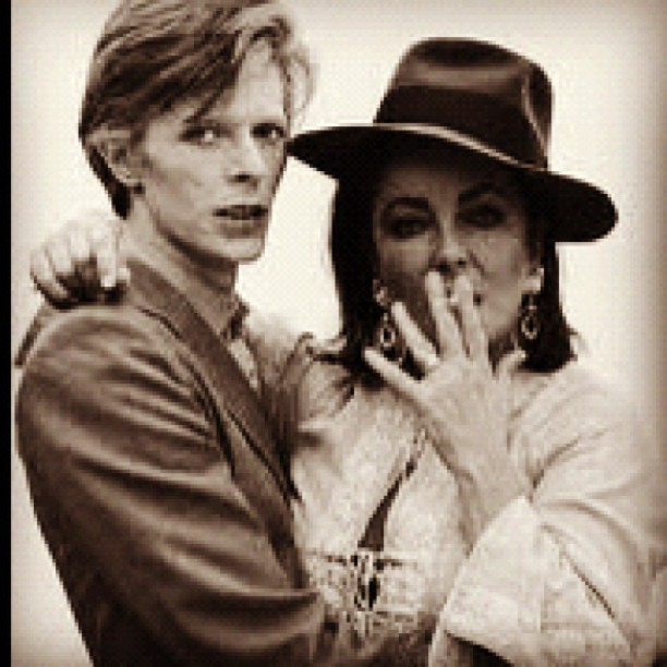 DAVID BOWIE. ELIZABETH TAYLOR. #movies #actress #pop #rock #icon #style #glamour (Taken with Instagram)