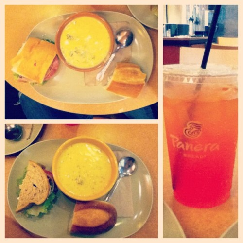 xrikachu:  #lunch date with babe at where I first had #Panera ! ☺👌🍴#food #foodporn #soup #sandwich (Taken with Instagram)  [072712]