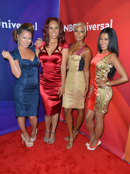 "everythingyntk:  Eva Marcille Pigford [2nd from right] + her co-stars of [another pointless] reality show, ""Girl Confidential: LA"", at the NBC/Universal Press Tour yesterday…"