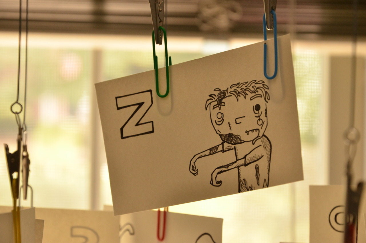 Here's a peek at another size of the Hsqrd Alphabet charts. Z is for Zombie!