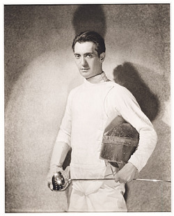 You can see why Frida Kahlo had a thing for Nickolas Muray - the man looks good in a fencing outfit. This look isn't just for show, though. Muray was an honest-to-goodness Olympian, representing the U.S. in sabre fencing at the 1928 and 1932 Olympics. Catch more white-suited men and women in the Men's Epee and Women's Sabre individual matches today. Nickolas Muray, ca. 1928 / Edward Steichen, photographer. Nickolas Muray papers, Archives of American Art, Smithsonian Institution.