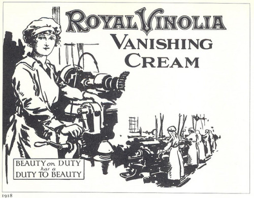 "Royal Vinolia Vanishing Cream ad, 1918 on Flickr.  Click image for 1186 x 924 size. Beauty on Duty has a Duty to beauty.  Scanned and quoted from Bronwen Meredith's ""Vogue Body and Beauty Book"" 1977."