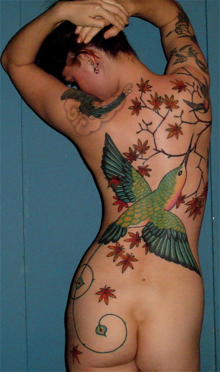 fuckyeahtattoos:  HUmmingbird backpiece by Graham Chaffee at Purple Panther Tattoo in Hollywood.  One of my favorite things I've done. http://www.purplepanthertattoos.com/ http://purplepanthertattoo.tumblr.com/