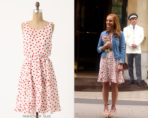 Jayma Mays films The Smurfs 2, Paris, July 10, 2012 Ooh la la! Jayma looked adorably chic in a cinched polka-dot Anthropologie dress on the set of The Smurfs 2 in Paris. Anthropologie Cerise Stamped Dress - $99.99 (EBAY size 6) Photo source: gleecandids Worn with: UGG wedges