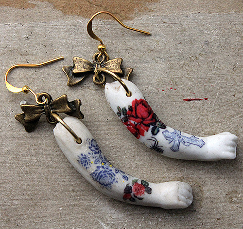 """Tattooed"" antique doll arm earrings. SOLD"