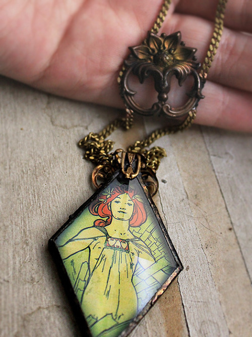 "Soldered Glass ""Absinthe"" Mucha Necklace with Antique Brass. SOLD"