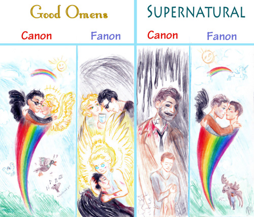 kaytara-art:  Everything you need to know about the GO and SPN fandoms. Come to us, SPNs. We have happiness. Which we destroy. (Click the DA version if the full-res isn't showing for you.)