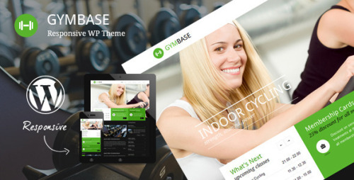 GymBase - Responsive Gym Fitness WordPress Theme GymBase is a gym fitness WordPress theme designed in a minimalist style. It has a responsive layout that looks great on mobile and tablet devices. The main point of focus is represented by home page slider which scales down automatically depending on your screen resolution. Theme contains blog page with comments, filterable portfolio with details page, responsive timetable page, classes based on accordion page and contact page with map of location and working contact form.