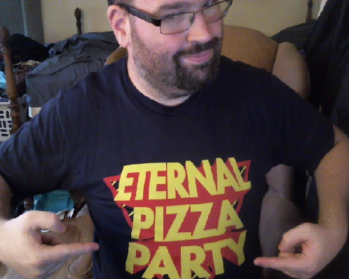 Eternal Pizza Party. Eternal love for Seibei! I now have 5 of David's shirts!