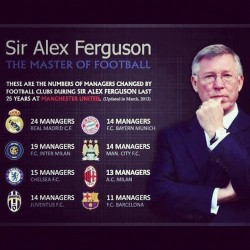 postandout:  Sir Alex Ferguson's management in numbers SAF = 24 Real managerial changes!  By the way the source, soccerblog.com, is worth a read too.