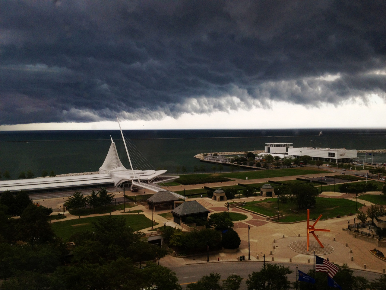 Picture looking outside Northwestern Mutual today before the storm.