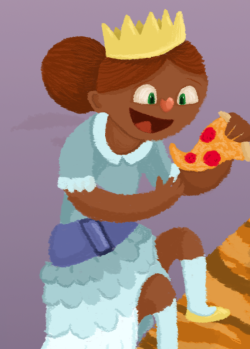 A preview of a princess eating pizza.
