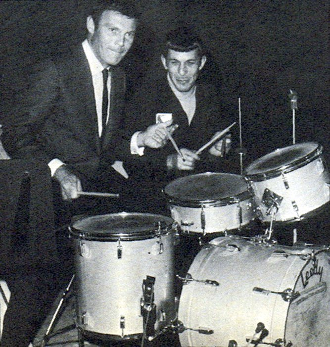 arcaneimages:  Adam West and Leonard Nimoy drumming it up together circa 1968. Via William Forsche