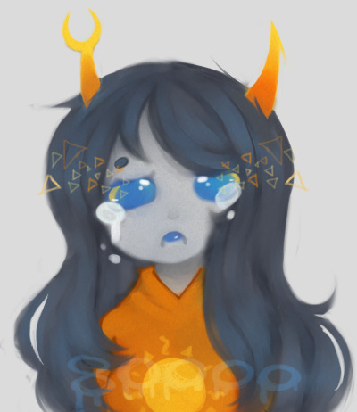 Edited the silly Vriska doodle I did a while back when I first got my tablet. I was too lazy so I didn't edit the blue dfsnhjdsf