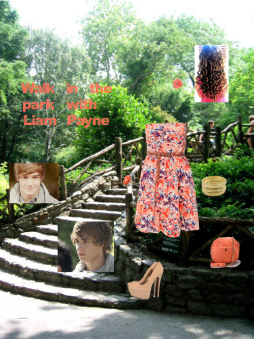 Walk in the park with Liam Payne by iluvparis16 featuring nude heelsVila Clothes pleated dress, $44 / AX Paris nude heels, $47 / Studded handbag / Coral jewelry / Miso set of bangle, $7.83 / Flower hair accessory