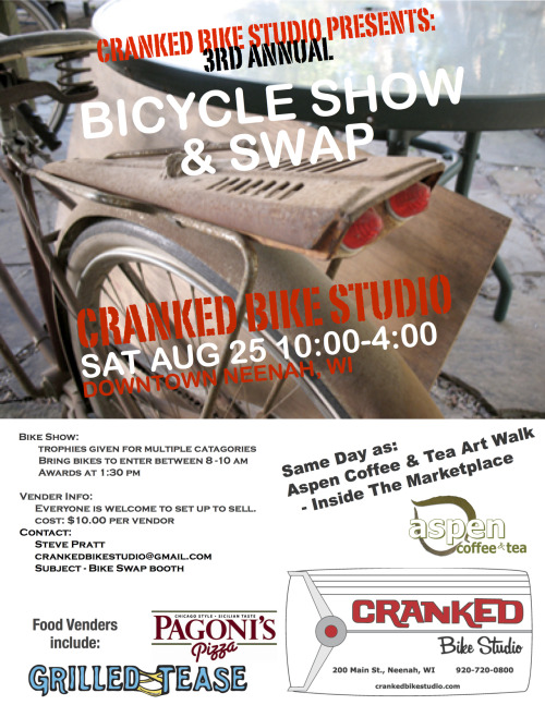 Don't forget - 3rd Annual Bike Show & Swap - August 25th