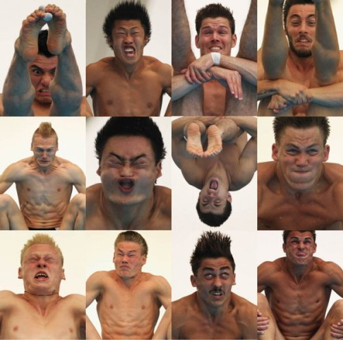 collegehumor:  15 Pictures of Athletes Making Silly Faces Faces of Olympic Divers, Mid-Dive