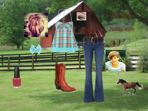 Horseback riding with Louis by iluvparis16 featuring flared jeansRoxy green tank top, $21 / Jane Norman flared jeans, $63 / Western cowgirl boots / Hair clip accessory / OPI  nail lacquer, $17